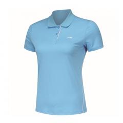 李宁男女同款T恤夏季品牌运动服套装翻领速干短袖 APLL202,货号008.ZH056 女165