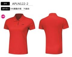2018李宁女子短袖POLO衫翻领运动服APLN122-2基础红,货号008.ZH237