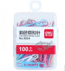 得力(deli) 0024 彩色回形针 多色混合 50盒/组  货号013.LK