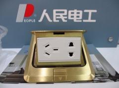 人民电器 人民电工铜地插座KW2-ZL/J五孔方型地插座 香槟金 货号099.L70