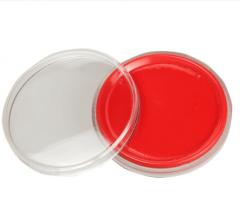 现货隔日达 三木(SUNWOOD) 6281 Φ65mm圆形透明外壳快干印台 红色 5个/组 货号016.LG3198