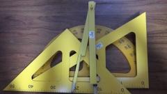 现货隔日达 教学用木质三角板 量角器圆规 50cm大号三角尺套装教师教具 货号016.LG3014 三角板60°45°