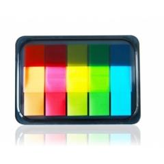 得力9060荧光标签便利贴 (44*12mm)*5色*20张    货号888.hc