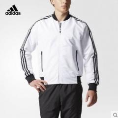 (金佰大体育)adidas 阿迪达斯 运动型格 男子 梭织夹克 白 CF4634货号069.Y81