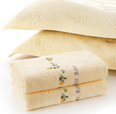 金号毛巾 赤金提素螺绣纯棉枕巾(2条/组   黄色 50*80cm) BC.004