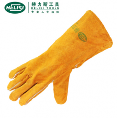 赫力斯HELISI牛皮防护手套加长焊工电焊焊接手套劳保手套34cm  JC.206