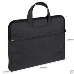 得力(deli)5590加厚立体办公手提会议包事务包 商务拉链袋电脑公文包 黑色   BG.009