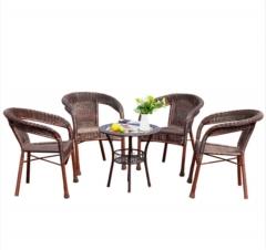 简约现代庭院 深咖色四椅一桌组合 阳台藤椅桌椅 JJ.29
