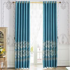 轻奢成品窗帘欧式飘窗窗帘歌缇丽高遮光 打孔 2.5m*高2.6m*2片蓝色   BC.011