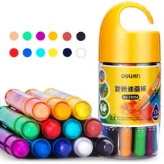 得力(deli)72054  12色桶装学生水溶性旋转油画棒 JX.025