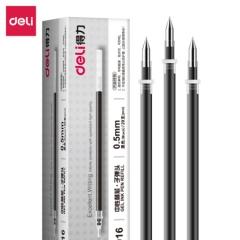 得力(deli)0.5mm黑色子弹头笔芯 中性笔水笔签字笔替芯 20支/盒6916      BG.022