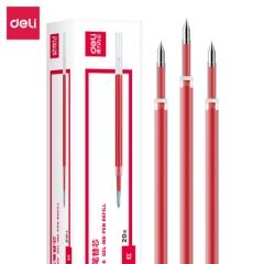 得力(deli)6906 0.5mm按动红色笔芯 子弹头中性笔水笔签字笔替芯    BG.039
