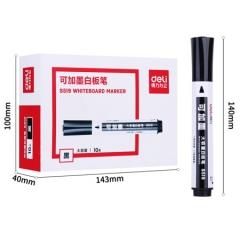 得力(deli)可加墨大容量可擦白板笔 圆头黑色10支/盒S519    BG.075