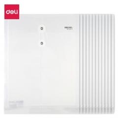 得力(deli)12只A4加厚防水淋文件袋资料袋 绑带式票据收纳袋 白色5511     BG.091