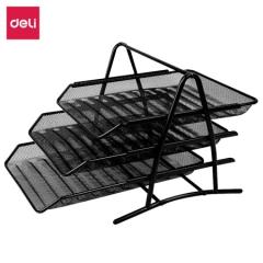 得力(deli)9181 高品质商务三层金属文件盘(座)黑色 1只装   BG.001