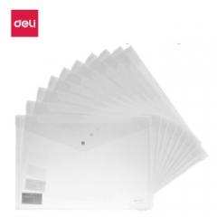 得力(deli)A4加厚透明按扣5505文件袋 资料袋公文袋 10只/包 (白色) BG.034