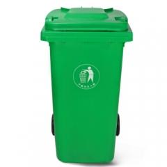 加厚公共室外环保分类塑料带盖翻盖环卫户外垃圾桶酒店 大号果皮箱 绿色带轮240L    QJ.098