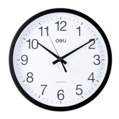 得力(deli)挂钟钟表 客厅挂式静音钟表 9005 30cm简约时尚挂钟 黑色 DQ.1128
