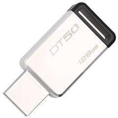 金士顿(Kingston)USB3.1 128GB 金属U盘 DT50 高速车载U盘 黑色   PJ.118