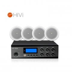 惠威(HiVi)DT40+JS106*4 定压吸顶音响6英寸天花喇叭功放套装公共广播会议背景音乐音箱组合一拖四   IT.187