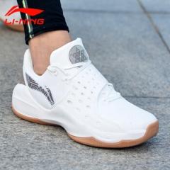 李宁 篮球鞋男鞋2018夏季新款音速6CBA篮球比赛战靴低帮运动鞋ABAN053-4 乳白色/灰褐色   44码     TY.064