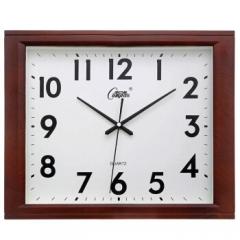 康巴丝(Compas)挂钟16英寸创意静音客厅钟表方形简约时钟居家办公挂表电子石英钟C25241仿木色 DQ.1162