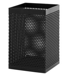 得力(deli)金属网纹方形笔筒 办公桌面收纳盒 黑色908    BG.194