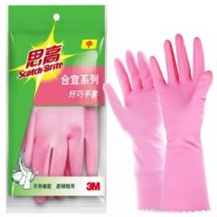 3M 合宜系列 纤巧家务手套 中号 橡胶手套 柔软粉色     QJ.161