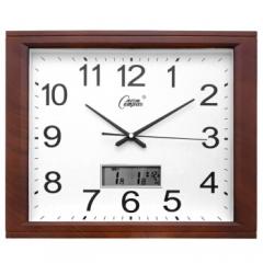 康巴丝(Compas) C2524Y 挂钟 液晶款16英寸创意静音客厅钟表方形简约时钟 DQ.1184
