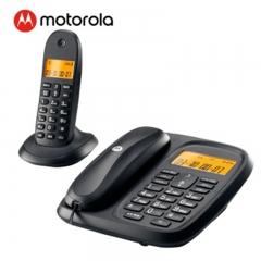 摩托罗拉(Motorola)CL101C数字无绳电话机座机子母机中文显示免提套装办公一拖一固定无线座机(黑色)  IT.227