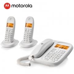 摩托罗拉(Motorola)CL102C数字无绳电话机座机子母机中文显示免提套装办公一拖二固定无线座机(白色)  IT.230