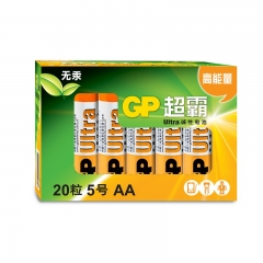 超霸(GP)15AU-2IB20碱性电池5号20节装照相机鼠标玩具剃须刀门铃电动工具AALR6  PJ.140