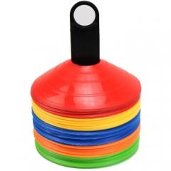 足球训练标志碟 障碍物标志盘路障标志物叠足球训练器材多个装 5色10个+置物架+收纳袋     TY.1130