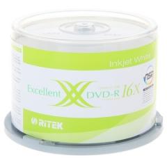 铼德(RITEK)DVD-R空白光盘/刻录盘 16速4.7G 台产 可打印 桶装50片     PJ.172
