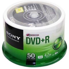 索尼(SONY)DVD+R 光盘/刻录盘 16速4.7G 桶装50片 空白光盘    PJ.189