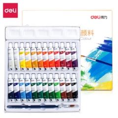得力(deli)24色5ml学生美术专用入门级水粉画绘画颜料 水粉颜料73864   JX.082