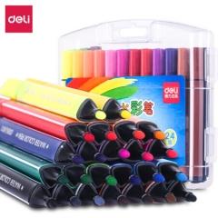 得力(deli)70658 可水洗24色水彩笔绘画笔 粗三角杆 盒装   JX.084