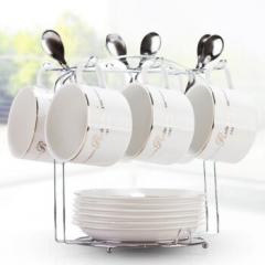 陶瓷杯咖啡杯套装家用咖啡杯子餐具19件套咖啡杯碟套(6杯6碟6勺1杯架) CF.045