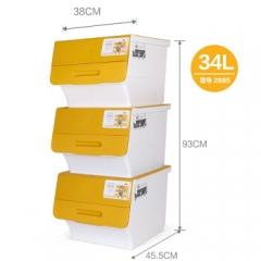 茶花 收纳箱塑料整理箱斜口翻盖可层叠储物箱34L 2885 3支装   QJ.172