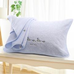 金号 赤金提素螺绣纯棉枕巾(2条/组   蓝色 50*80cm) BC.004