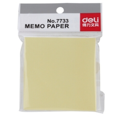 得力(deli)黄色便利贴粘性便签纸 76*76mm备忘留言纸/记事贴/N次贴7733   BG.305