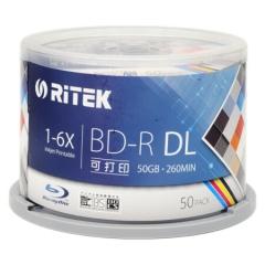 铼德(RITEK) BD-R空白蓝光光盘/刻录盘 DL 1-6速 台产50G蓝光可打印 桶装50片   PJ.248