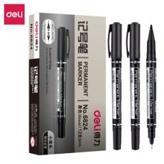 得力(deli) 6824 黑色双头多用油性记号笔签字笔 勾线笔会议笔马克笔12支/盒 XH.582