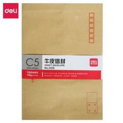 得力(deli)10张3426-7号牛皮纸信封 邮局标准信封229*162mm     BG.318