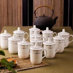 乐享 茶杯陶瓷盖杯12只装带盖开会杯子商务会议办公水杯套装青莲 CF.056