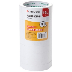 齐心(COMIX)18mm*10y(9.1米)MJ1810-10棉纸双面胶带 办公文具 10卷/筒   XH.589