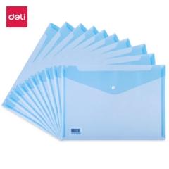 得力(deli)A4加厚透明按扣5505文件袋 资料袋公文袋 10只/包 (蓝色)XH.593