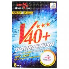 双鱼乒乓球三星 展翅ABS新材料V40+ 3星兵乓球比赛用球 白色6个装   TY.1175