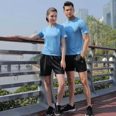 短袖T恤套装   成人   半袖+短裤  天蓝   男款 M  TY.1179