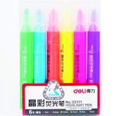 得力(deli)6色荧光笔考试复习重点标记笔 手帐可用水性记号笔6支/盒33111   XH.612